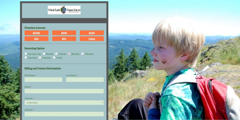 Whole Earth Nature School Donation Form