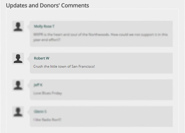 Comments on the WXPR Connect campaign page