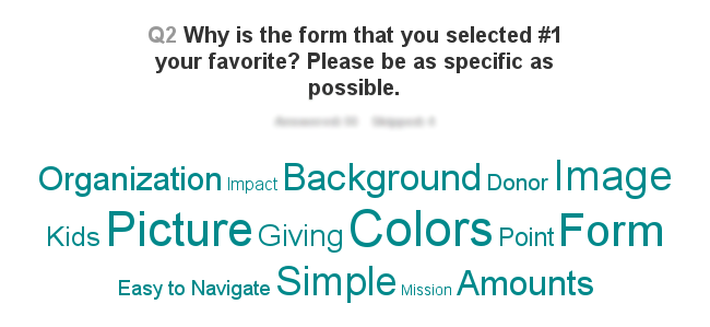 A word cloud created from the donation form contest's responses