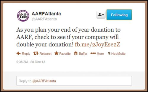 AARF Atlanta's social media posts on matching gifts.